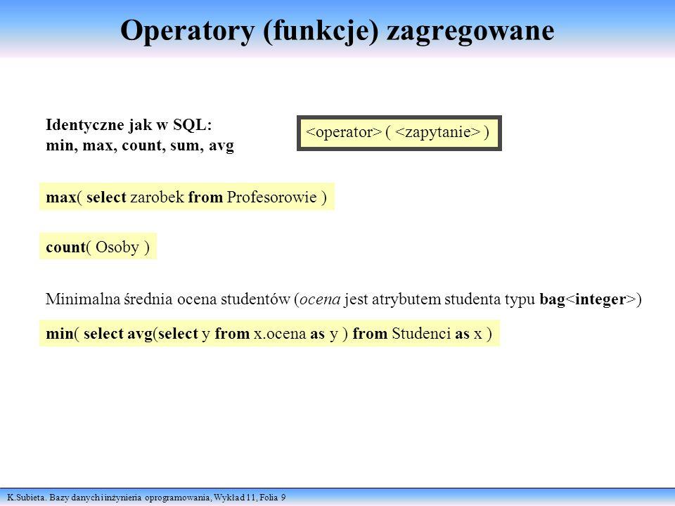 Operatory (funkcje) zagregowane