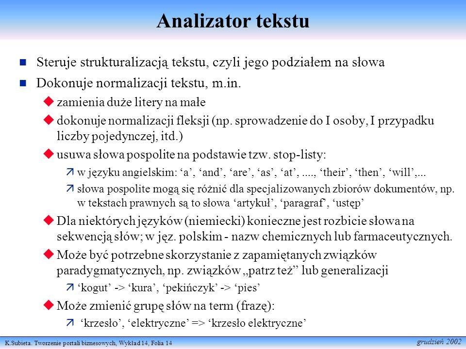 Analizator tekstu Steruje strukturalizacją tekstu, czyli jego podziałem na słowa. Dokonuje normalizacji tekstu, m.in.