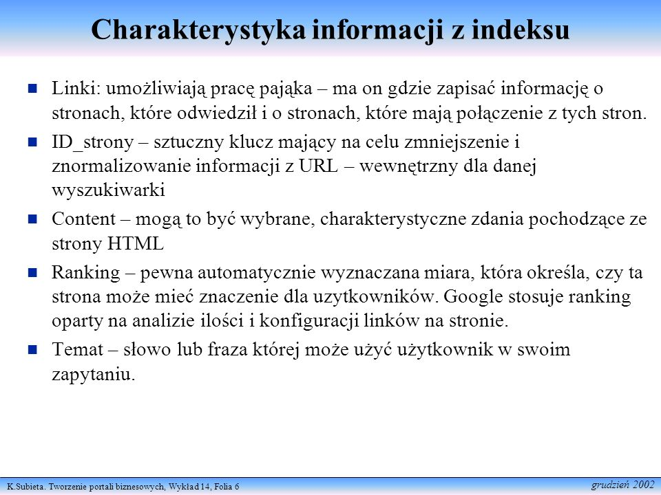 Charakterystyka informacji z indeksu