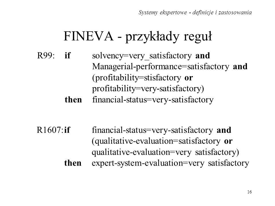 FINEVA - przykłady reguł