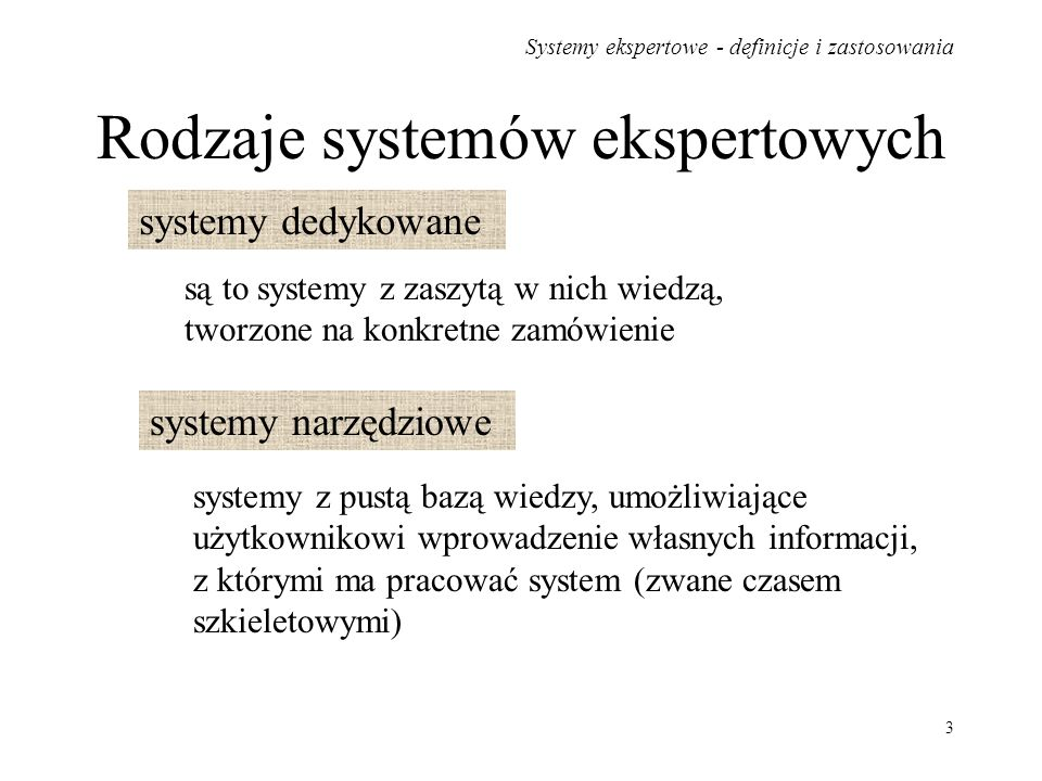 Rodzaje systemów ekspertowych
