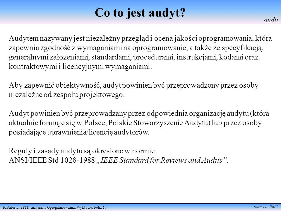 Co to jest audyt audit.