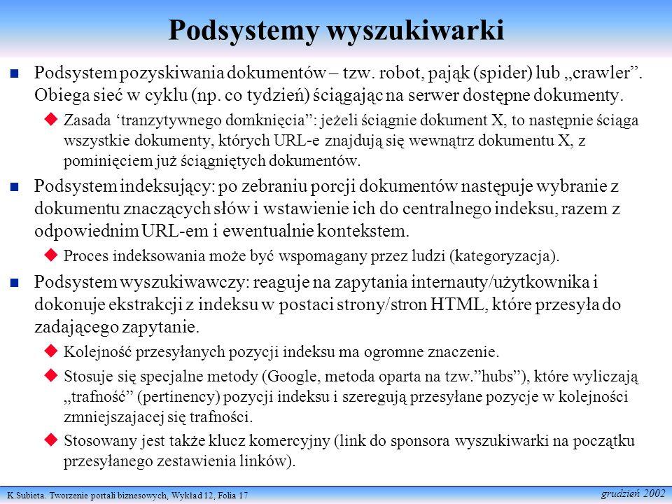 Podsystemy wyszukiwarki