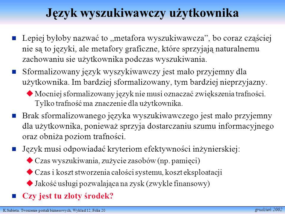 Język wyszukiwawczy użytkownika