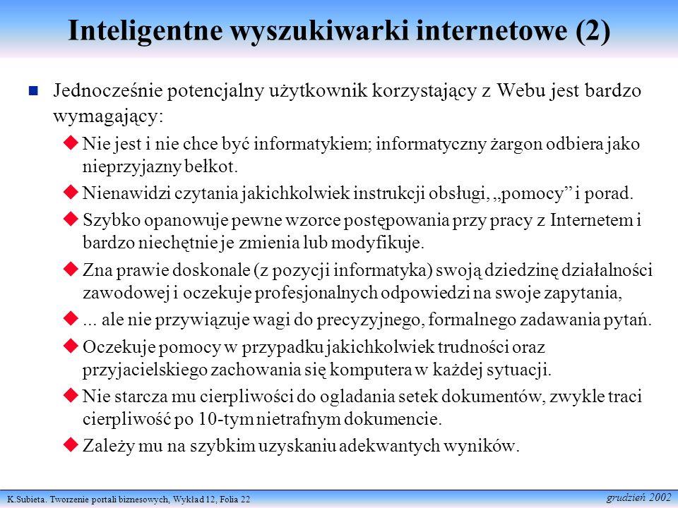 Inteligentne wyszukiwarki internetowe (2)