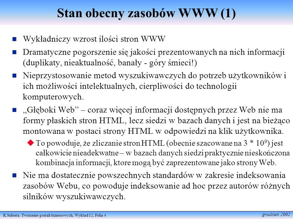 Stan obecny zasobów WWW (1)