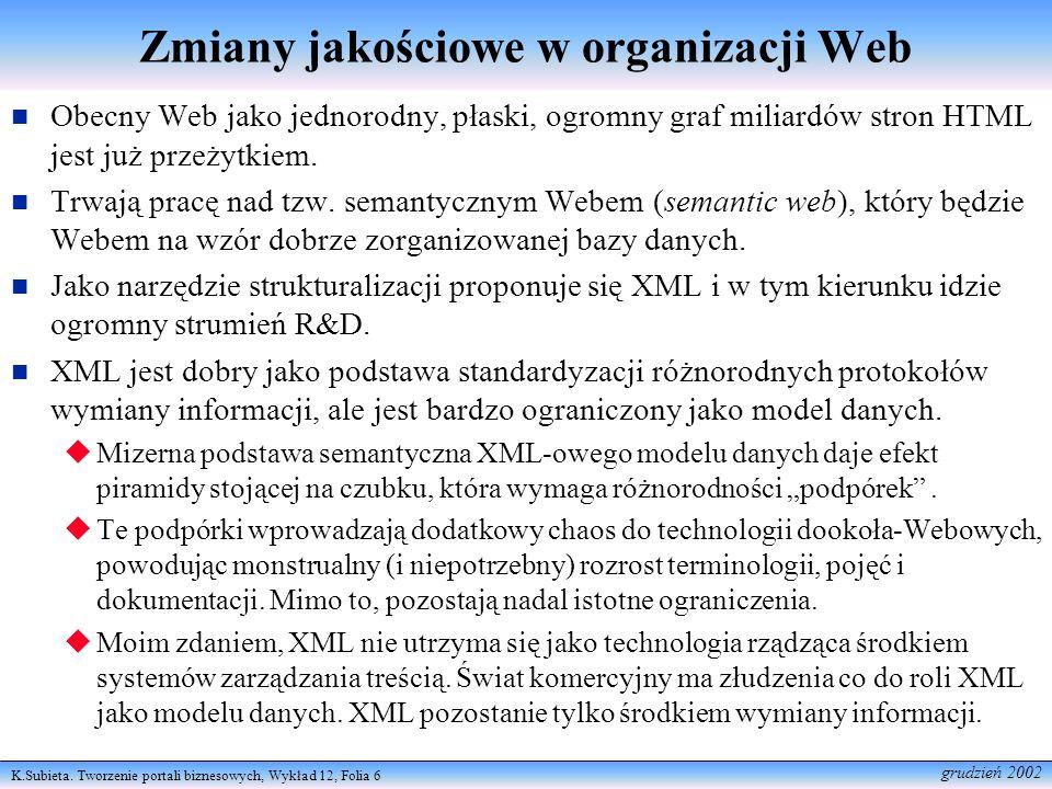 Zmiany jakościowe w organizacji Web
