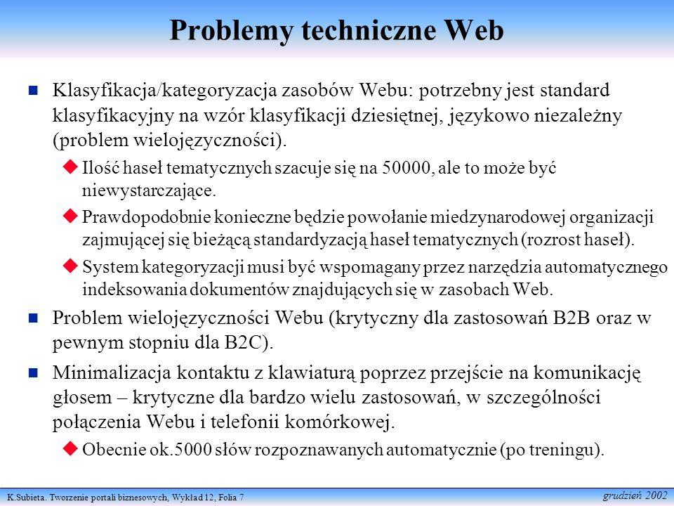 Problemy techniczne Web