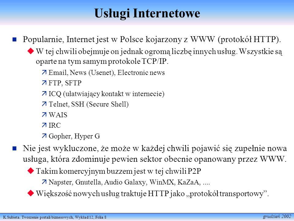 Usługi InternetowePopularnie, Internet jest w Polsce kojarzony z WWW (protokół HTTP).
