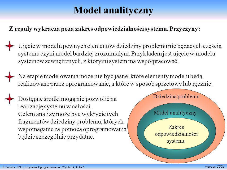 Model analityczny Z reguły wykracza poza zakres odpowiedzialności systemu. Przyczyny: