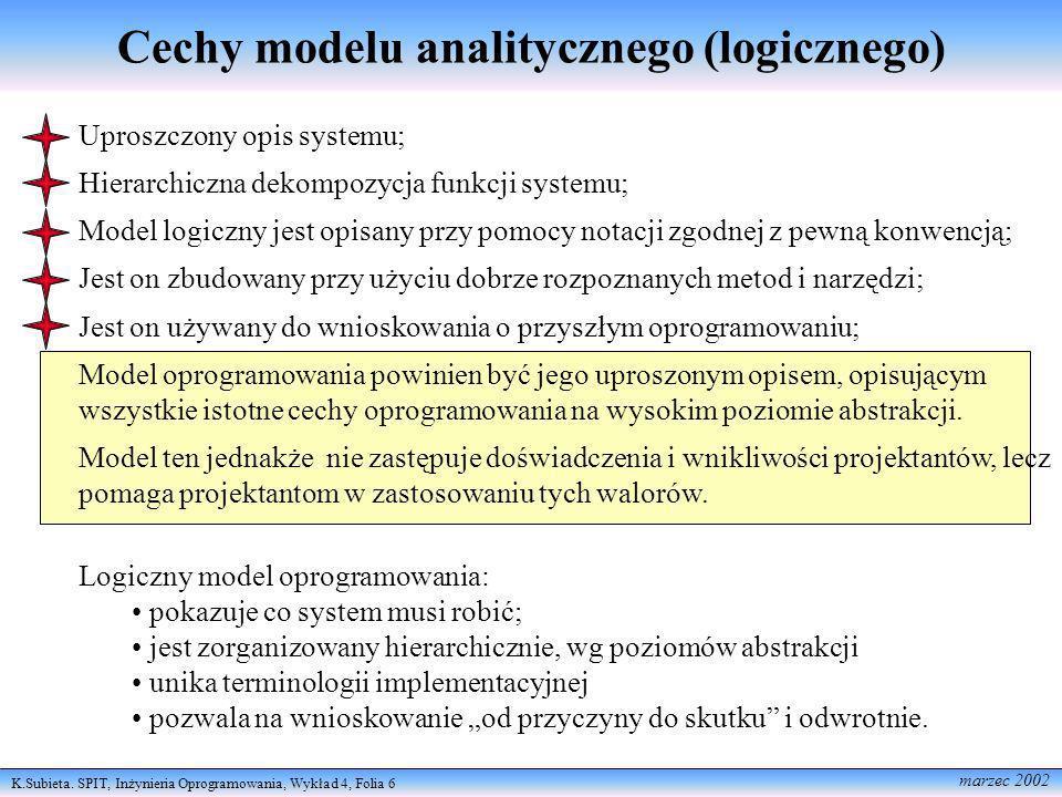 Cechy modelu analitycznego (logicznego)