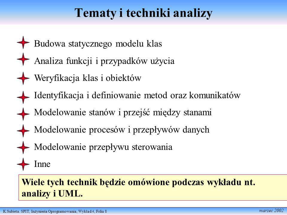 Tematy i techniki analizy
