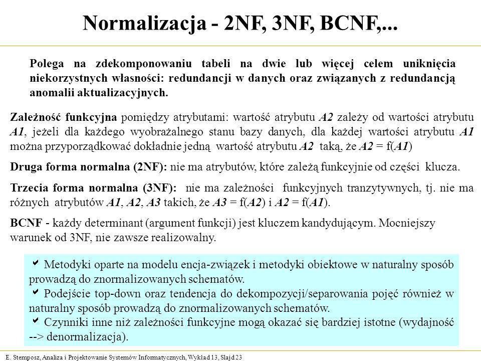 Normalizacja - 2NF, 3NF, BCNF,...