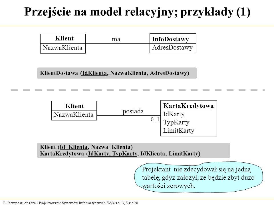 Przejście na model relacyjny; przykłady (1)