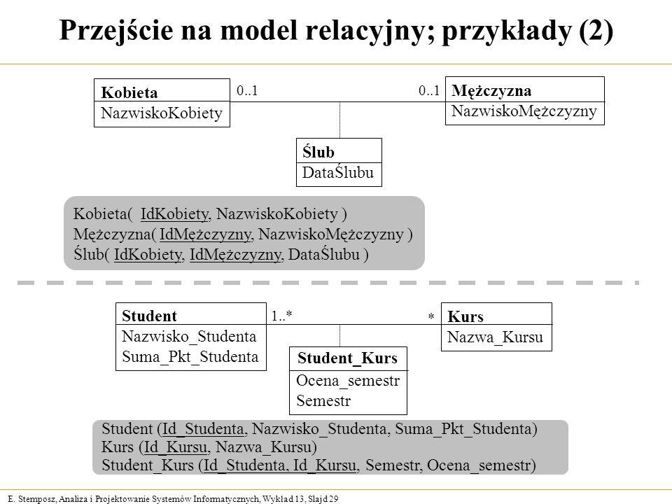 Przejście na model relacyjny; przykłady (2)