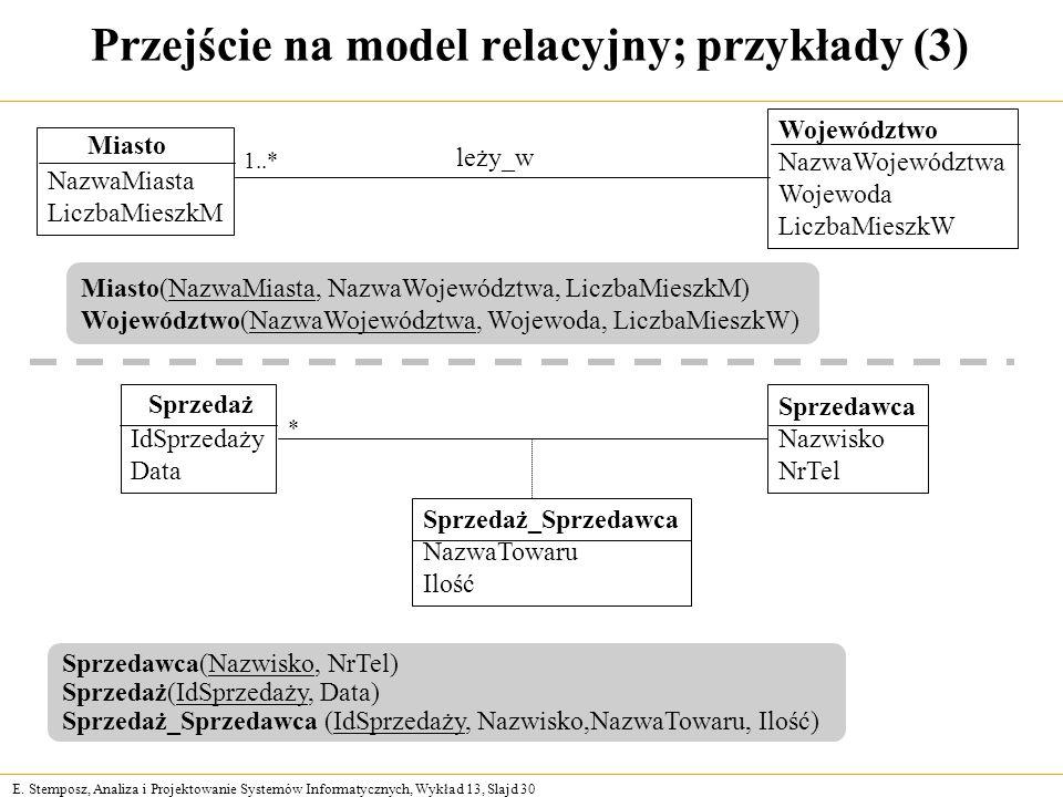 Przejście na model relacyjny; przykłady (3)
