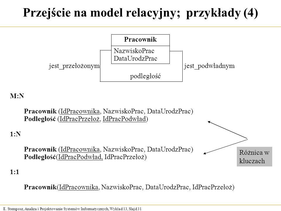 Przejście na model relacyjny; przykłady (4)