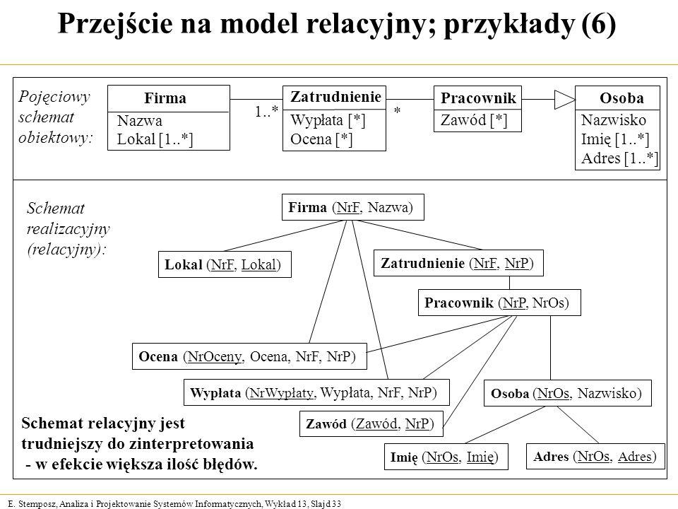 Przejście na model relacyjny; przykłady (6)