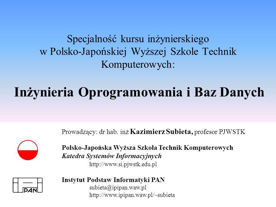 Specjalność kursu inżynierskiego w Polsko-Japońskiej Wyższej Szkole Technik Komputerowych: Inżynieria Oprogramowania i Baz Danych