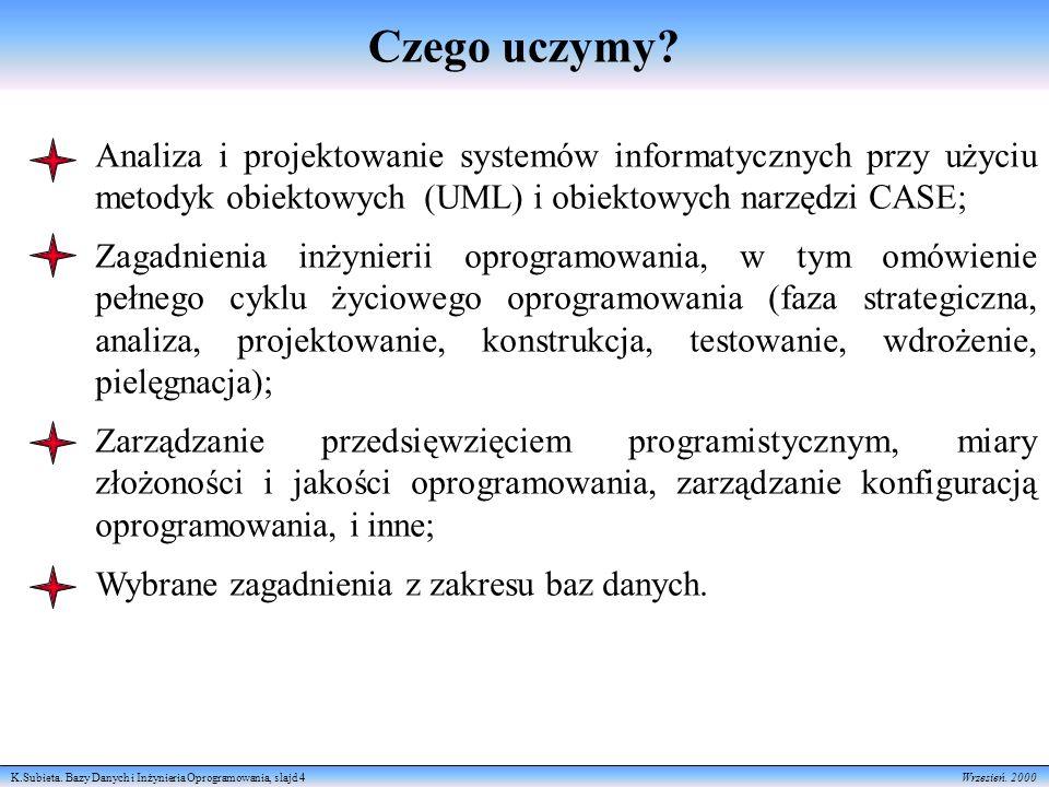 Czego uczymy Analiza i projektowanie systemów informatycznych przy użyciu metodyk obiektowych (UML) i obiektowych narzędzi CASE;