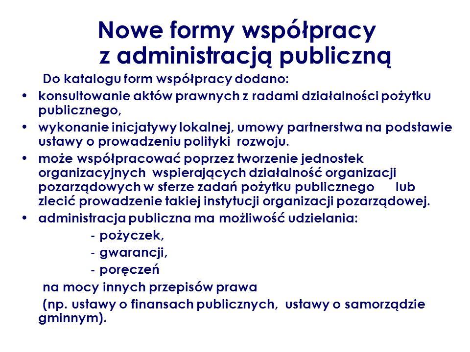 Nowe formy współpracy z administracją publiczną