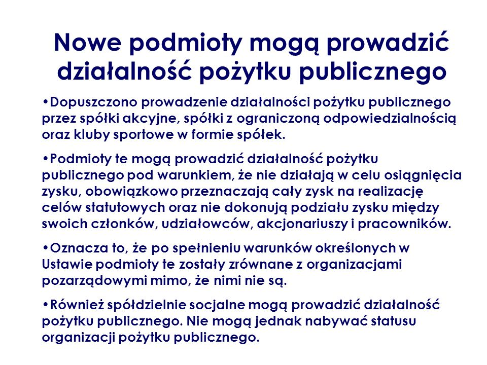 Nowe podmioty mogą prowadzić działalność pożytku publicznego
