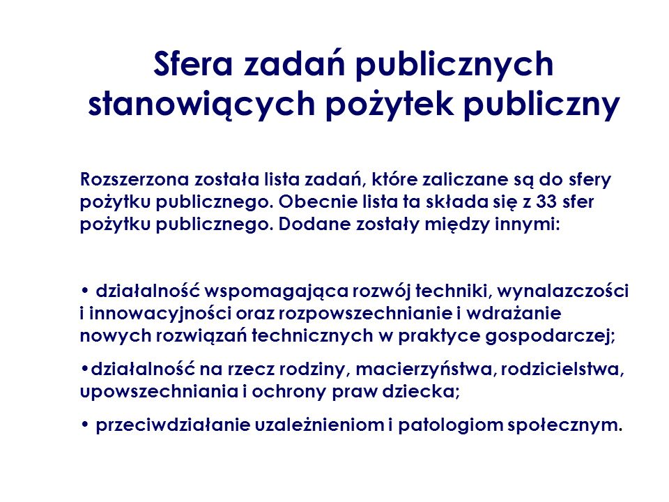 Sfera zadań publicznych stanowiących pożytek publiczny