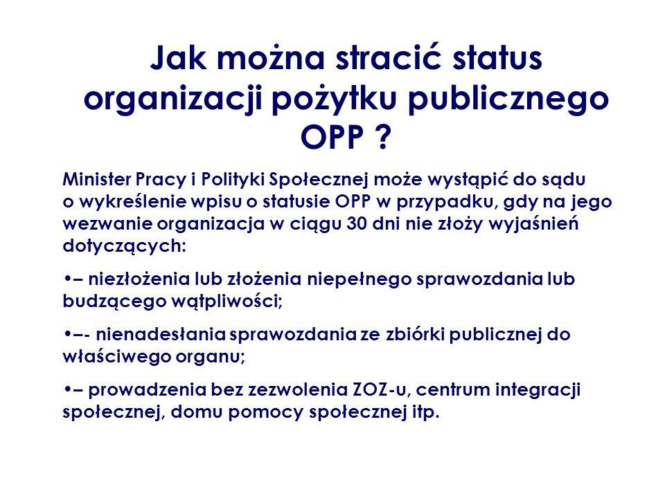 Jak można stracić status organizacji pożytku publicznego OPP