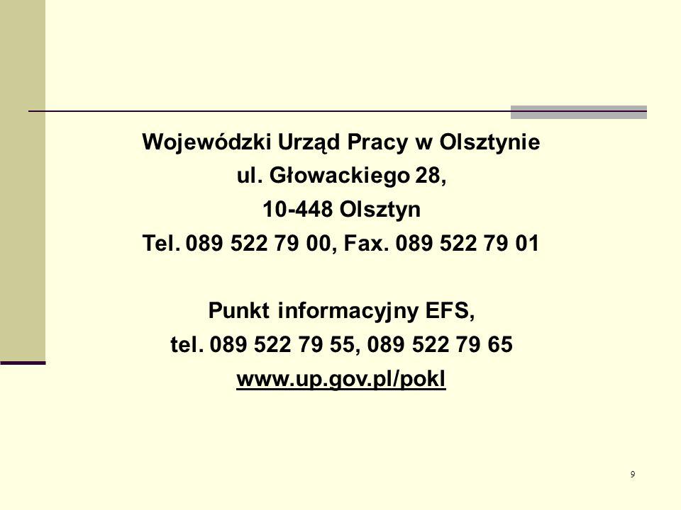 Wojewódzki Urząd Pracy w Olsztynie Punkt informacyjny EFS,