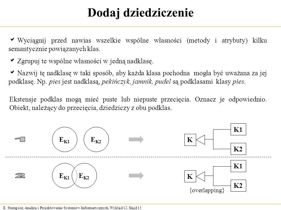 Dodaj dziedziczenie Wyciągnij przed nawias wszelkie wspólne własności (metody i atrybuty) kilku semantycznie powiązanych klas.