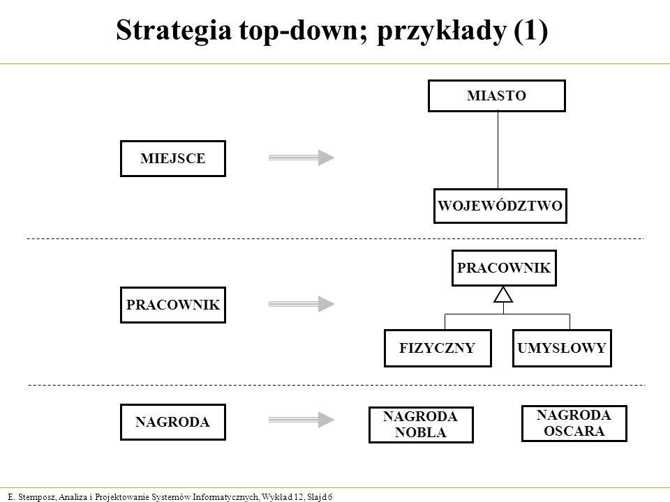 Strategia top-down; przykłady (1)