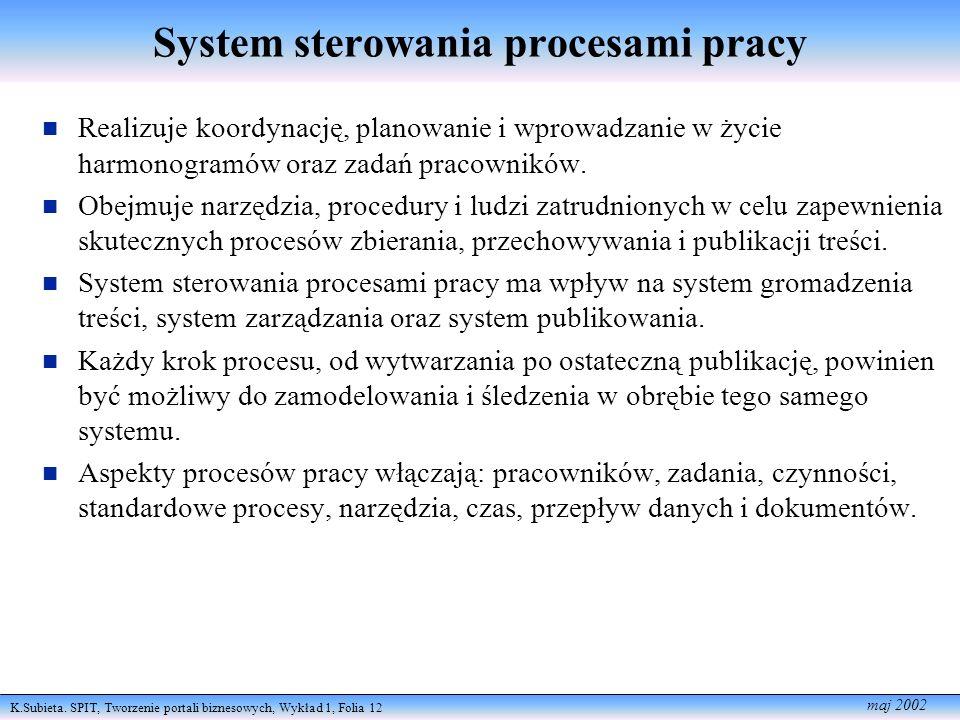 System sterowania procesami pracy