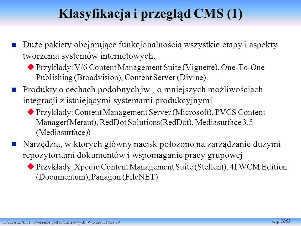 Klasyfikacja i przegląd CMS (1)