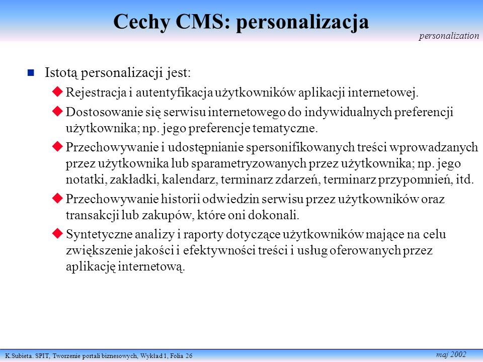 Cechy CMS: personalizacja