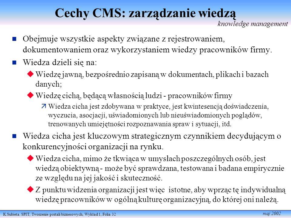 Cechy CMS: zarządzanie wiedzą