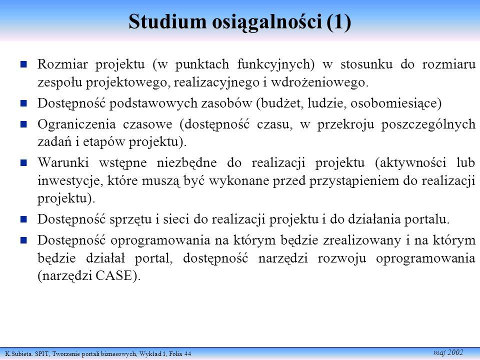 Studium osiągalności (1)