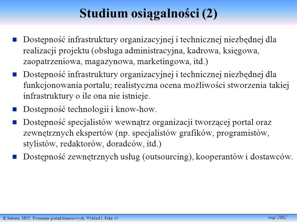 Studium osiągalności (2)