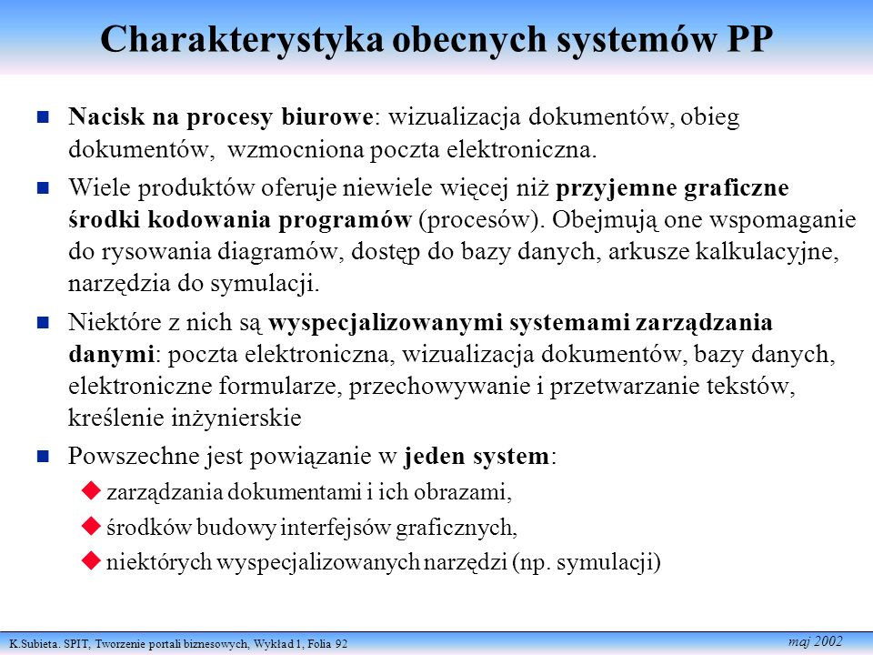 Charakterystyka obecnych systemów PP