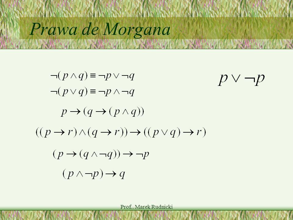 Prawa de Morgana Prof.. Marek Rudnicki