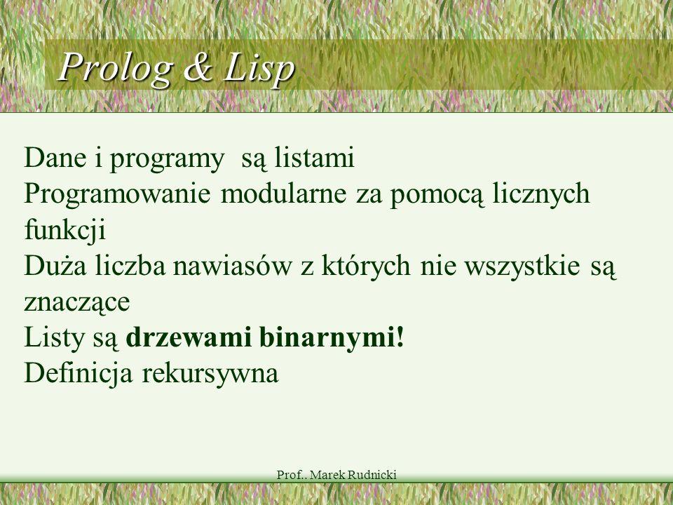 Prolog & Lisp Dane i programy są listami