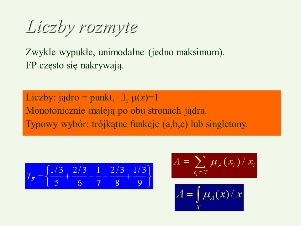 Liczby rozmyte Zwykle wypukłe, unimodalne (jedno maksimum).