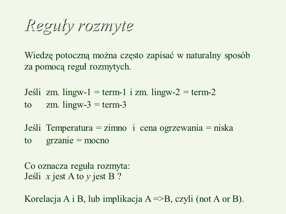 Reguły rozmyte Wiedzę potoczną można często zapisać w naturalny sposób za pomocą reguł rozmytych. Jeśli zm. lingw-1 = term-1 i zm. lingw-2 = term-2.