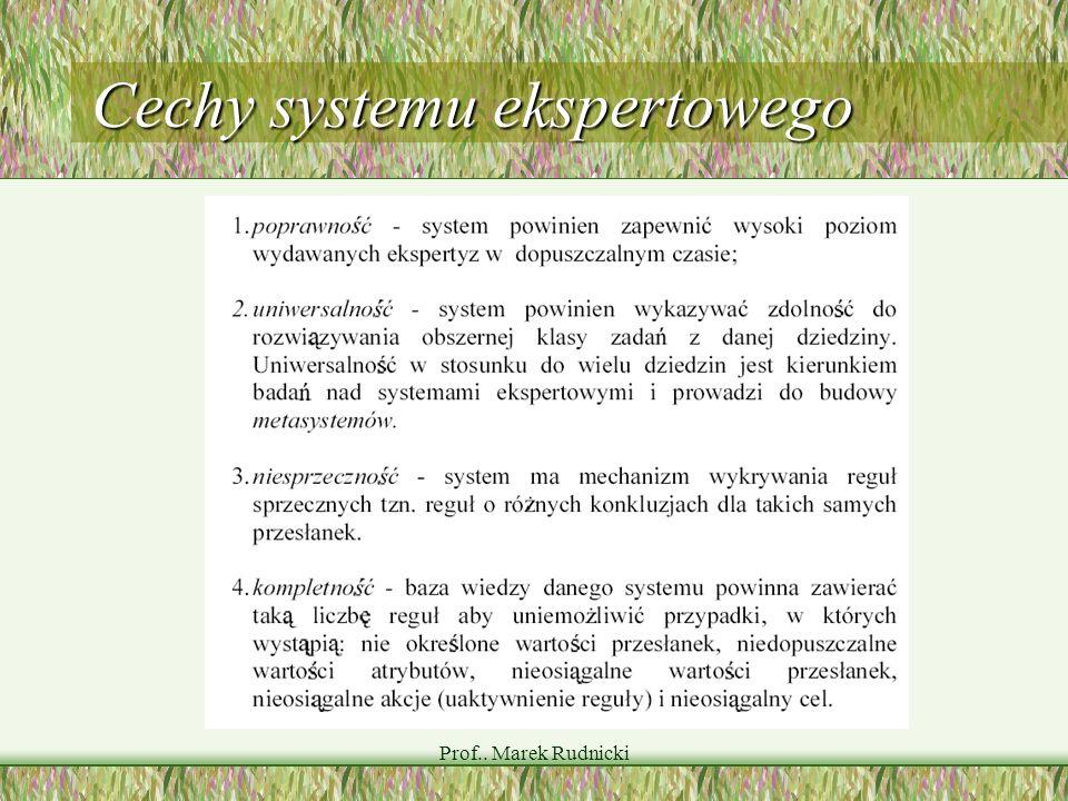 Cechy systemu ekspertowego