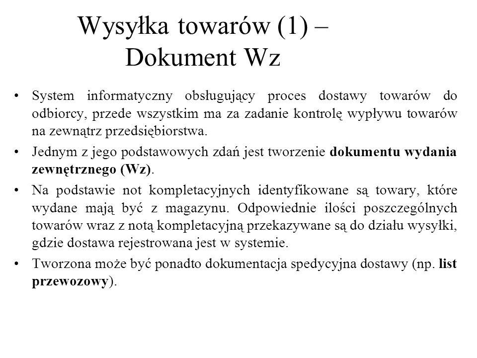 Wysyłka towarów (1) – Dokument Wz