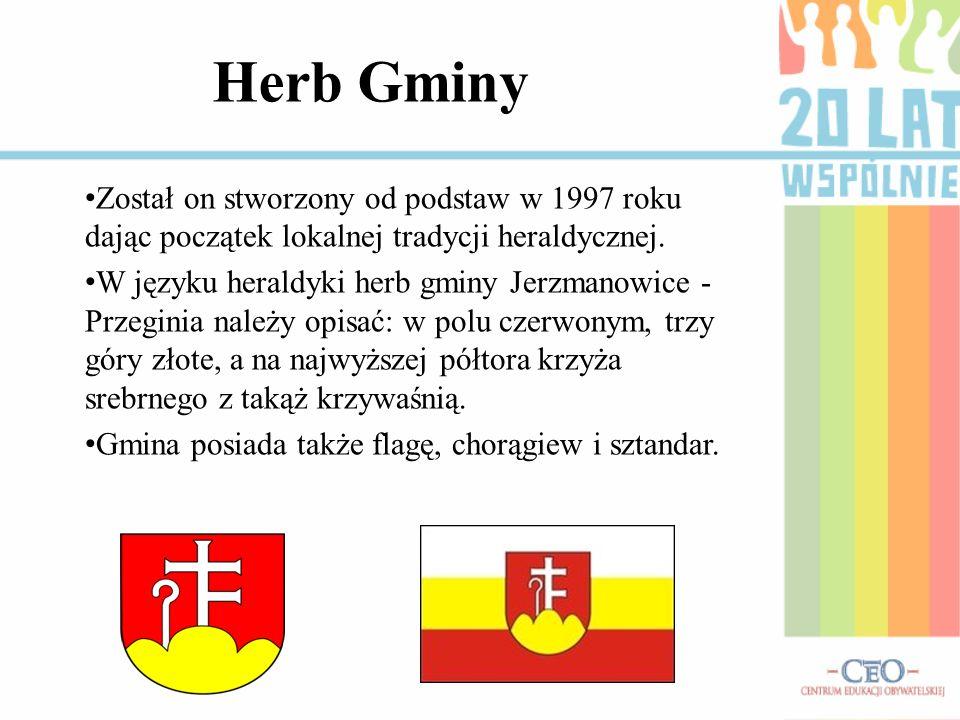 Herb GminyZostał on stworzony od podstaw w 1997 roku dając początek lokalnej tradycji heraldycznej.