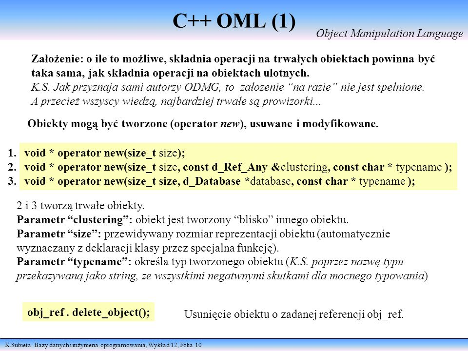 C++ OML (1) Object Manipulation Language