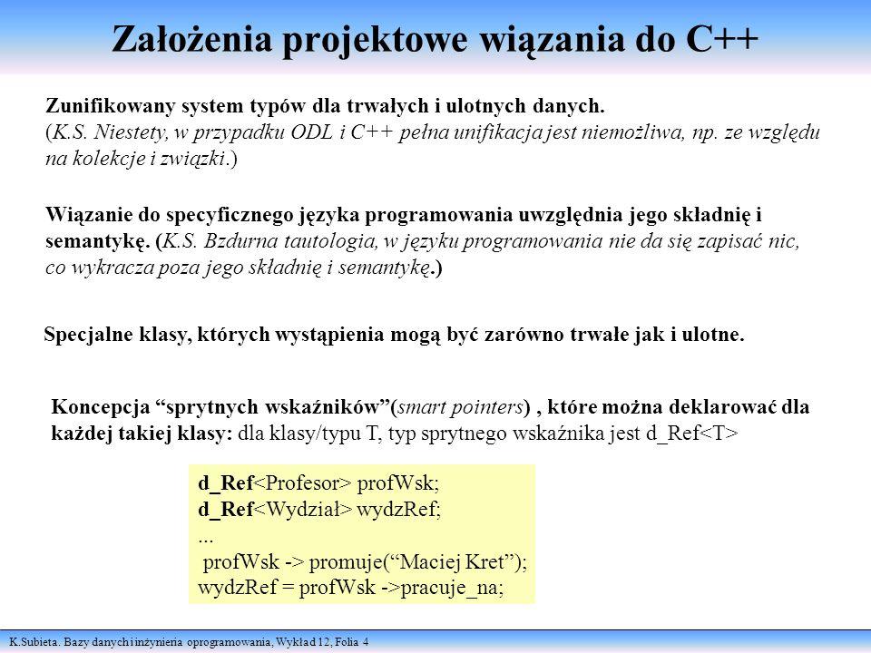 Założenia projektowe wiązania do C++