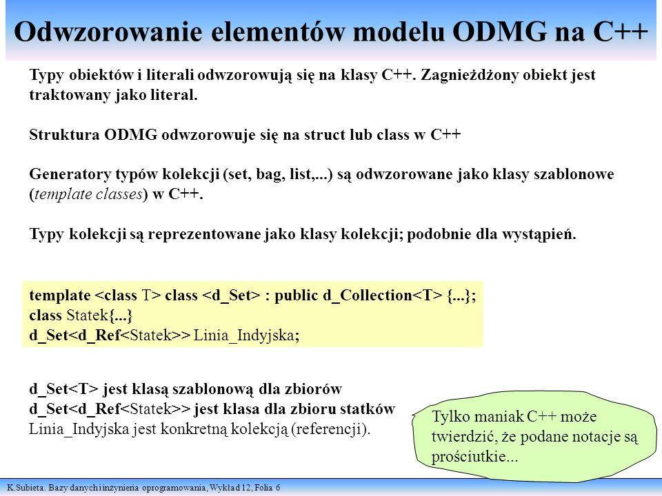 Odwzorowanie elementów modelu ODMG na C++