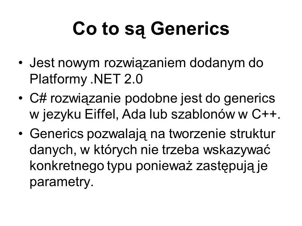 Co to są Generics Jest nowym rozwiązaniem dodanym do Platformy .NET 2.0.