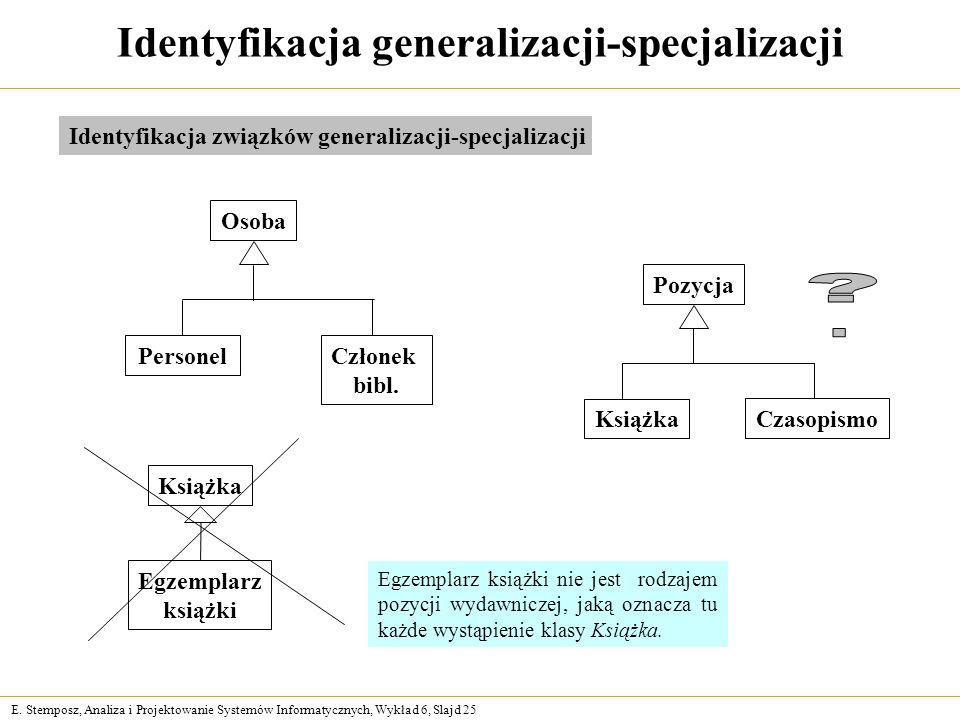 Identyfikacja generalizacji-specjalizacji